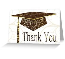 Brown & Gold Floral Cap Thank You Card Greeting Card