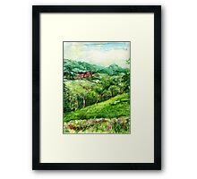 Spring Green original pencil and watercolor outdoor art Framed Print