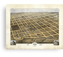 Bird's Eye View of the City of Denison Texas 1873 Canvas Print