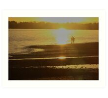 sunset couple woody point queensland Art Print