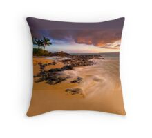 Pa'ako Beach Gold Rush Throw Pillow