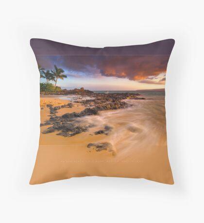 Pa'ako Beach Gold Rush Throw Pillow