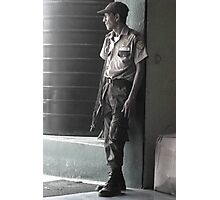 Guard Outside Bus Station in Puerto Barrios, Guatemala  Photographic Print