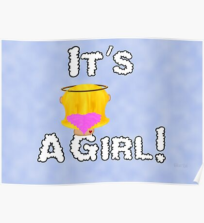 It's A Girl Angel Sitting On A Cloud Blonde Hair Card Poster
