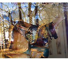Carousel- Horses at Saratoga  Photographic Print