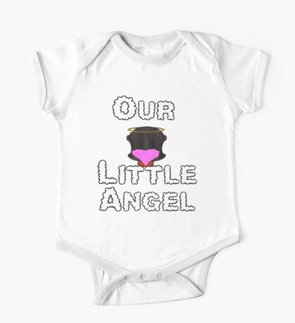 Our Little Angel Sitting on Cloud Black Hair Girl One Piece - Short Sleeve