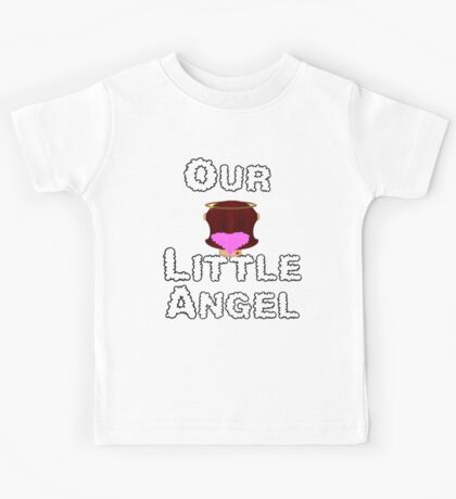Our Little Angel Sitting on Cloud Brown Hair Girl Kids Tee