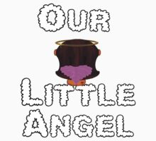 Our Little Angel Sitting on Cloud Brunette Hair Girl Kids Tee