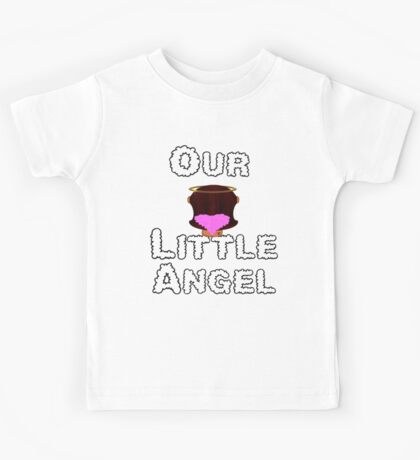 Our Little Angel Sitting on Cloud Brunette Hair Girl Kids Tee
