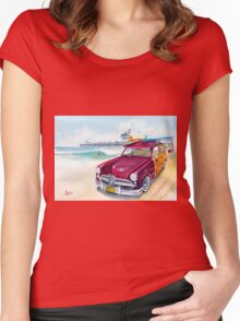 A Day at the Beach with my 49 Ford Woody Women's Fitted Scoop T-Shirt