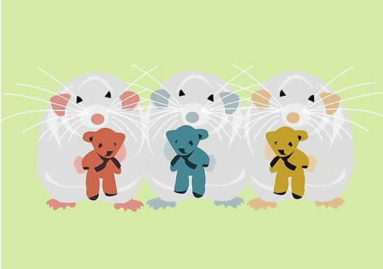 Three Mice with teddys by Jessica Slater