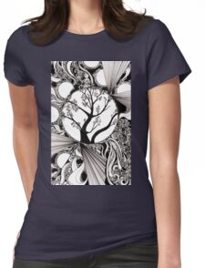 Spring Splendor, Ink Drawing Womens Fitted T-Shirt