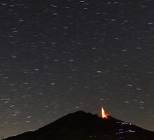 Starry night on Stromboli by Sylvain Crelier
