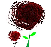 Black-red abstract flowers Photographic Print