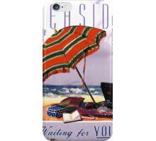 Seaside Australia Vintage Travel Poster Restored iPhone Case/Skin