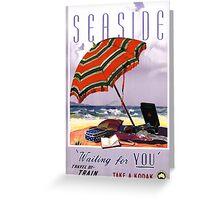 Seaside Australia Vintage Travel Poster Restored Greeting Card