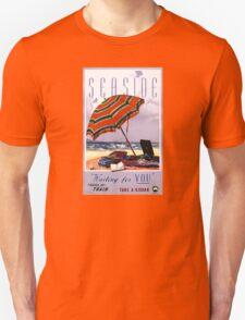 Seaside Australia Vintage Travel Poster Restored Unisex T-Shirt