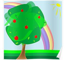 Apple tree and rainbow Poster