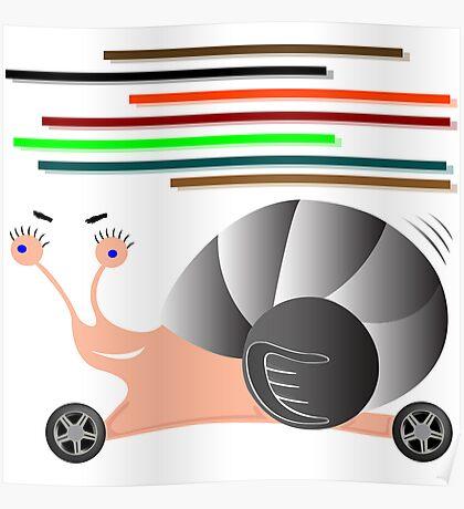 Auto snail cartoon Poster