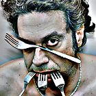 dramatic face of man with four steel forks by gregorrogerg