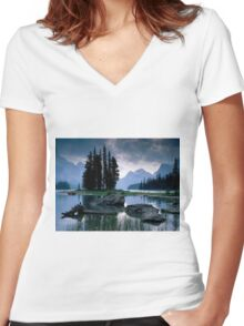Maligne Lake after a Storm Women's Fitted V-Neck T-Shirt