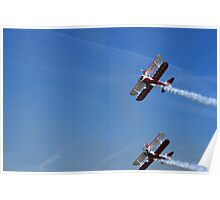 Bi-Plane Wing Walkers looping the sky Poster
