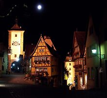 Rothenburg  - Plönlein with Full Moon #2 by David J Dionne