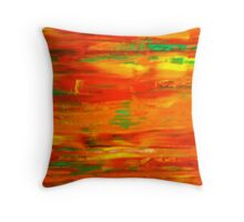 The Orange Wall  Throw Pillow