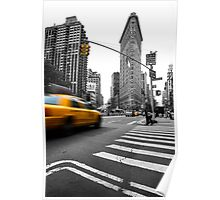 Yellow cab and the Flatiron Building Poster