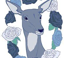 Deer in a Rose Ring - Blue by bludunes