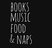 books, music, food & naps (white) Womens Fitted T-Shirt