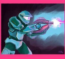 Master Chief with Needler by zladyluthien