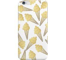 Faux Gold Leaf Summer Ice Cream Cones iPhone Case/Skin