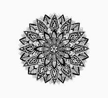 Flower Mandala Black and White Unisex T-Shirt