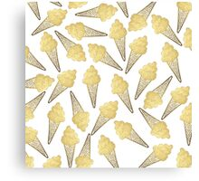 Faux Gold Leaf Summer Ice Cream Cones Canvas Print