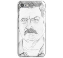 Ron Swanson Pencil Portrait iPhone Case/Skin