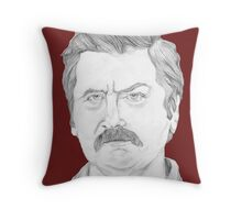 Ron Swanson Pencil Portrait Throw Pillow