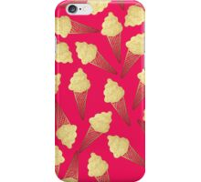 Faux Gold Leaf  Ice Cream Cones on Pink iPhone Case/Skin