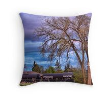 Rural Train Yard Throw Pillow