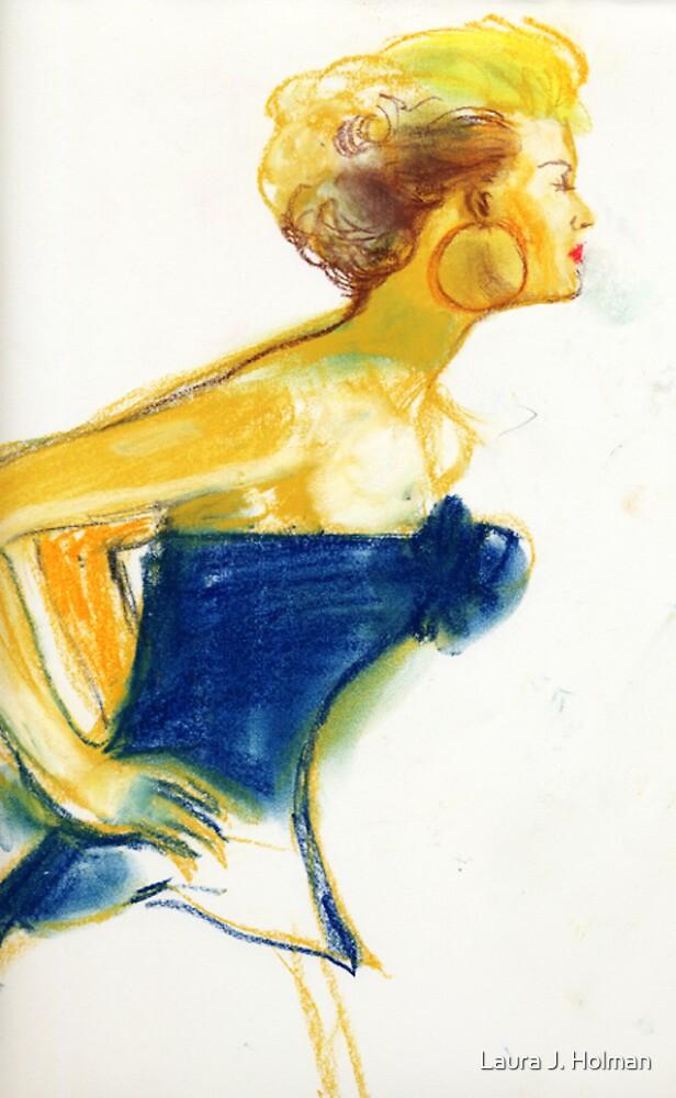 Leaning to Listen in Blue by Laura J. Holman