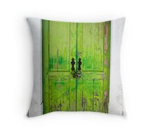 Little Green Door Throw Pillow