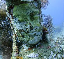 Underwater Smiley Budda statue at the Temple Garden by Paul M Turley