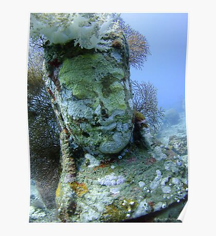 Underwater Smiley Budda statue at the Temple Garden Poster