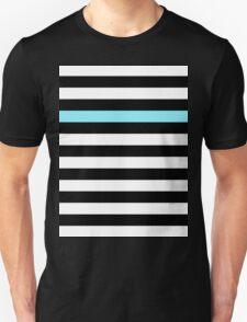 Black and White Stripes with One Aqua Stripe Unisex T-Shirt