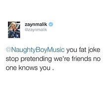 ZAYN MALIK SLAYING NAUGHTY BOY TWEET by 1dfanatic