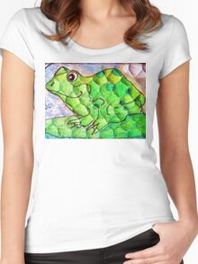 Frog funny textured colorful frog Women's Fitted Scoop T-Shirt