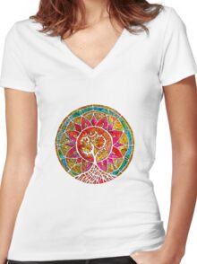 Tree of Life Mandala Women's Fitted V-Neck T-Shirt