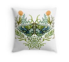 Moth with Plants Throw Pillow