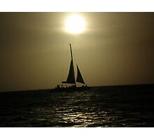 Sunset Boat Silhouette Photographic Print