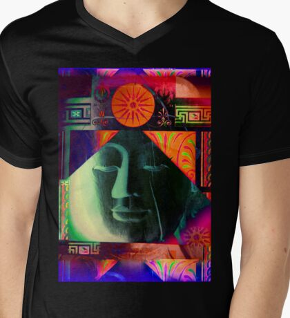 5718a Buddha Mens V-Neck T-Shirt